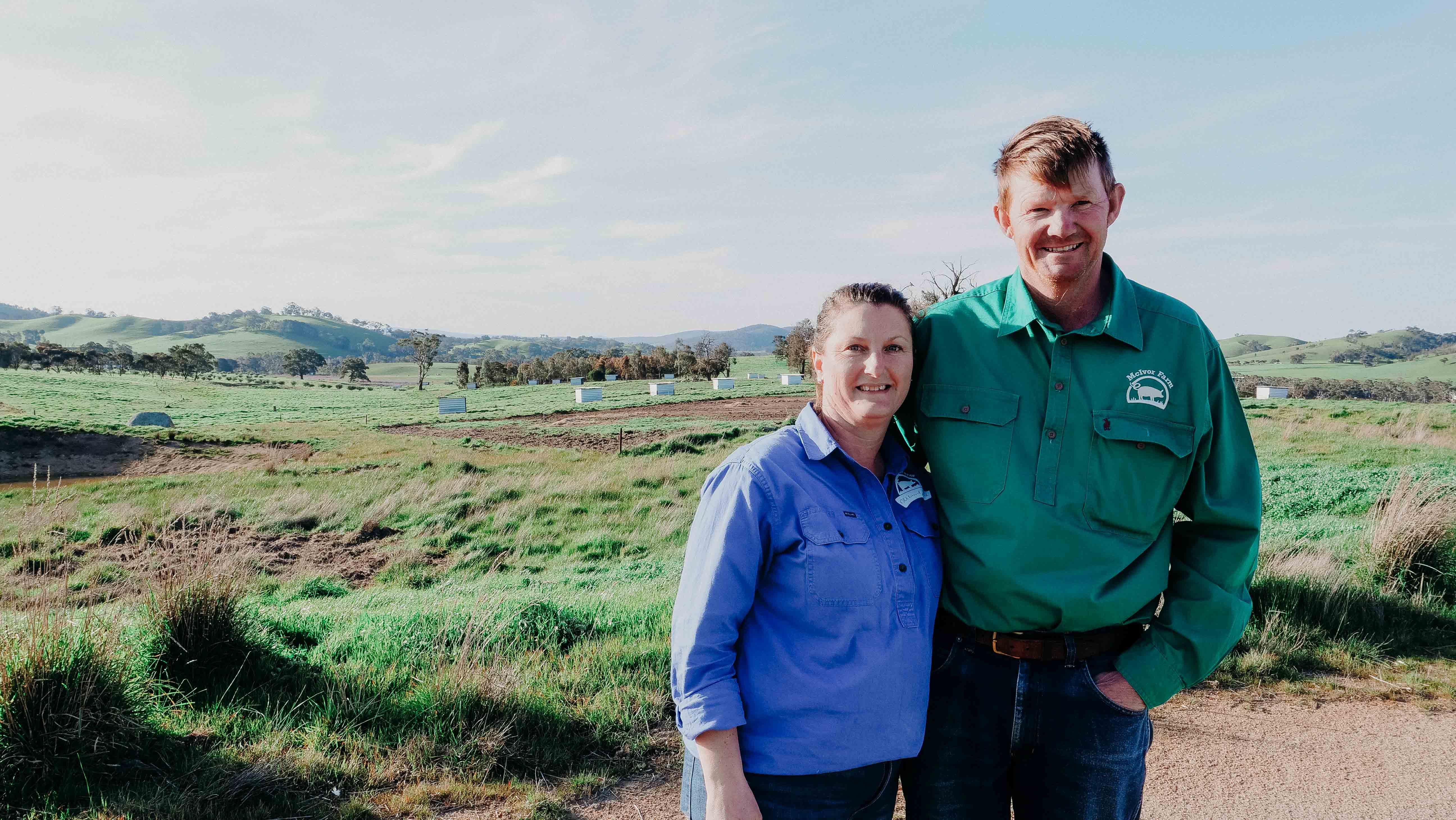 belinda and jason hagan on family farm in tooborac victoria
